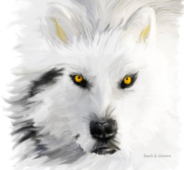 Arctic Wolf Painting - Arctic Wolf With Yellow Eyes by Angela Stanton
