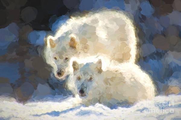 Photograph - Arctic Wolves - Painterly by Les Palenik