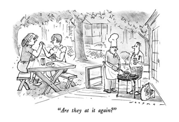 Picnics Drawing - Are They At It Again? by Bill Woodman