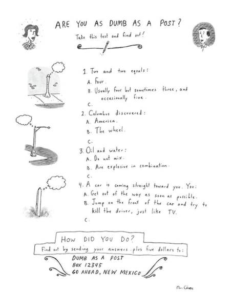 4 Drawing - Are You As Dumb As A Post? by Roz Chast