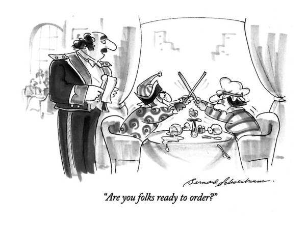 Punch Drawing - Are You Folks Ready To Order? by Bernard Schoenbaum