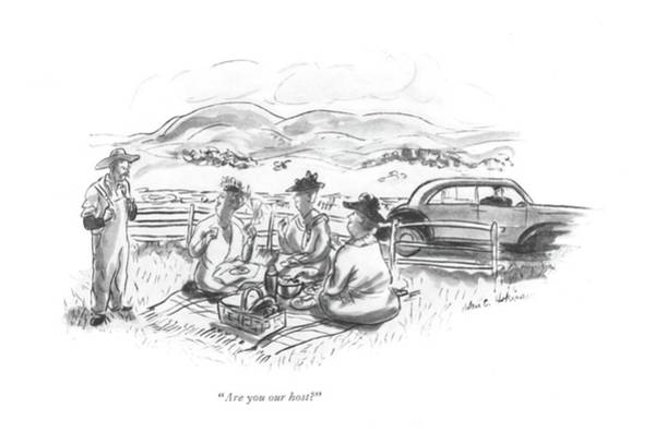Countryside Drawing - Are You Our Host? by Helen E. Hokinson