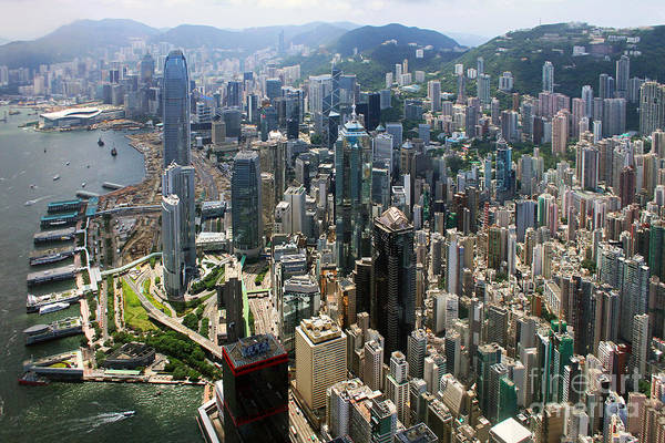 Wall Art - Photograph - Areal View Over Hong Kong by Lars Ruecker