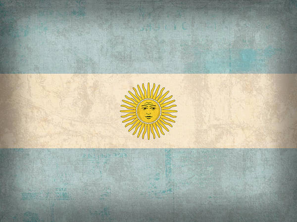 Distress Mixed Media - Argentina Flag Vintage Distressed Finish by Design Turnpike