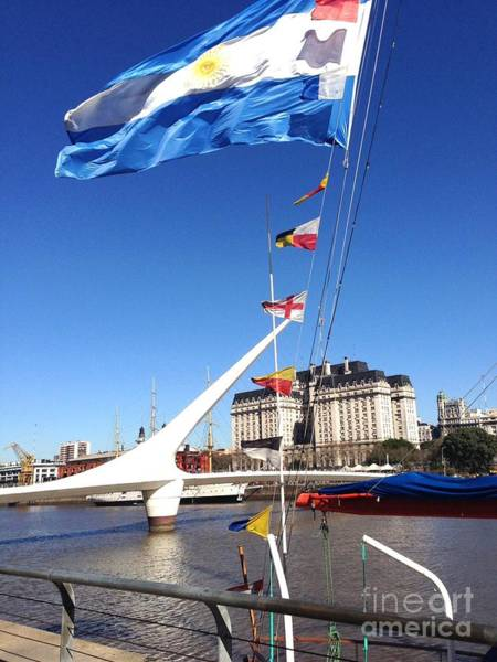 Puerto Plata Photograph - Argentine Flag At Bridge by Linda Ryan