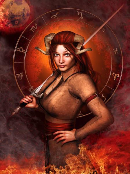 Wall Art - Mixed Media - Aries Fantasy Zodiac Edition by Britta Glodde