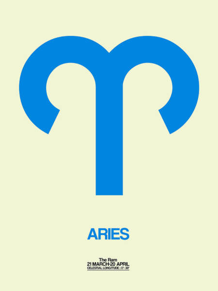 Taurus Digital Art - Aries Zodiac Sign Blue by Naxart Studio
