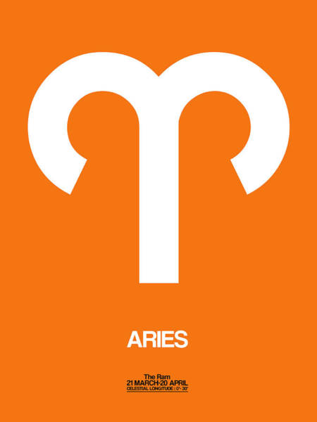 Taurus Digital Art - Aries Zodiac Sign White On Orange by Naxart Studio