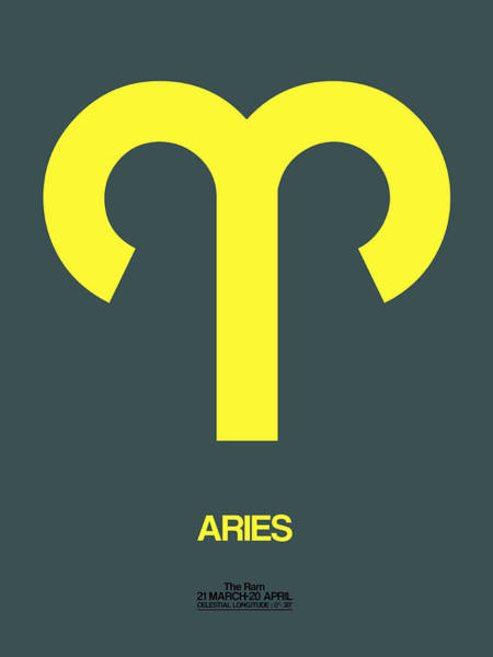 Taurus Digital Art - Aries Zodiac Sign Yellow by Naxart Studio