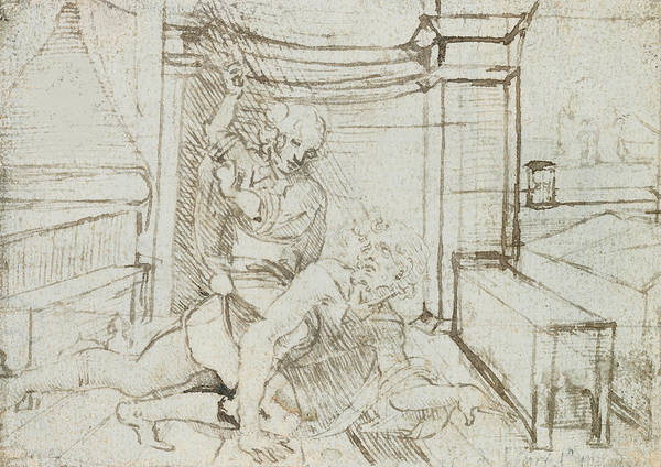 Man And Woman Drawing - Aristotle And Phyllis by Leonardo Da Vinci