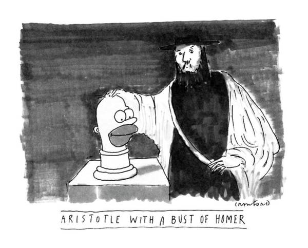 Cartoon Character Drawing - Aristotle With A Bust Of Homer: by Michael Crawford