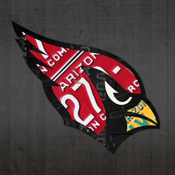 Cardinal Mixed Media - Arizona Cardinals Football Team Retro Logo License Plate Art by Design Turnpike