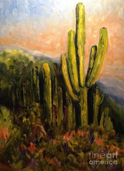 Sw Painting - Arizona Desert Blooms by Sherry Harradence