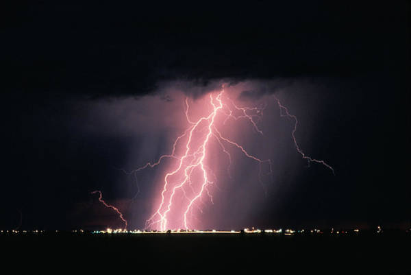 Electric Storm Photograph - Arizona  Lightning Over City Lights by Anonymous