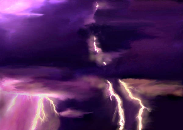 Painting - Arizona Monsoon Season Lightning by Bob and Nadine Johnston