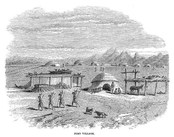 Indian Camp Painting - Arizona Pima Village, 1864 by Granger
