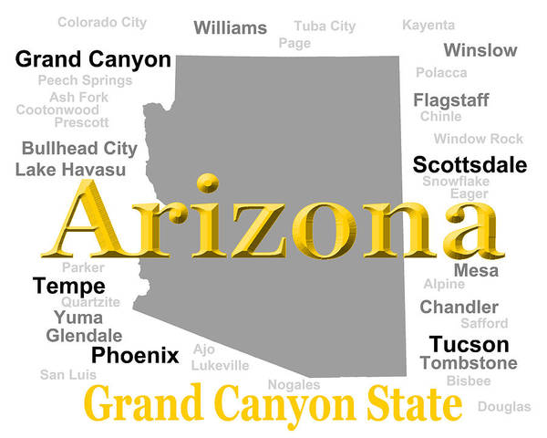 Tombstone Arizona Photograph - Arizona State Pride Map Silhouette  by Keith Webber Jr