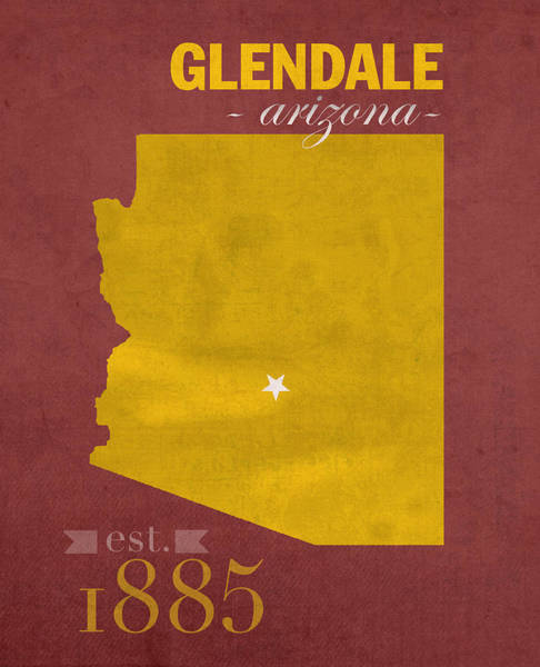Glendale Wall Art - Mixed Media - Arizona State University Sun Devils Glendale College Town State Map Poster Series No 012 by Design Turnpike