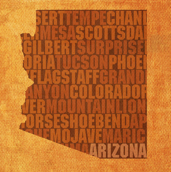 Desert Mixed Media - Arizona Word Art State Map On Canvas by Design Turnpike