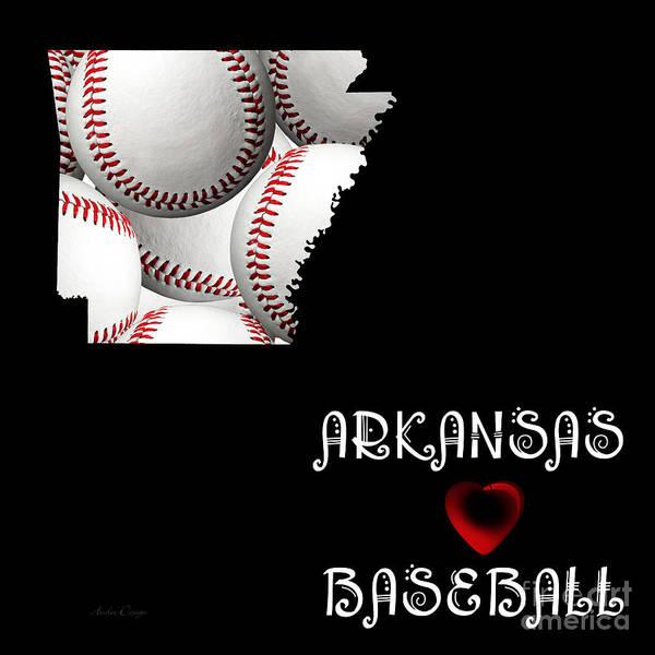 Digital Art - Arkansas Loves Baseball by Andee Design