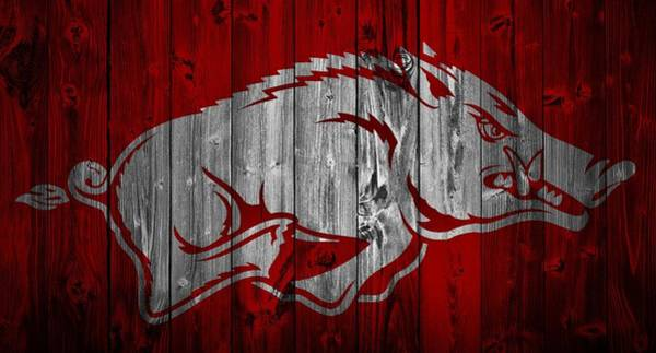 Arkansas Wall Art - Mixed Media - Arkansas Razorbacks Barn Door by Dan Sproul