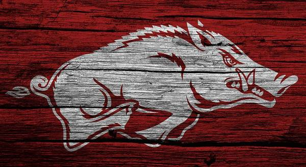 Arkansas Wall Art - Digital Art - Arkansas Razorbacks On Wood by Dan Sproul