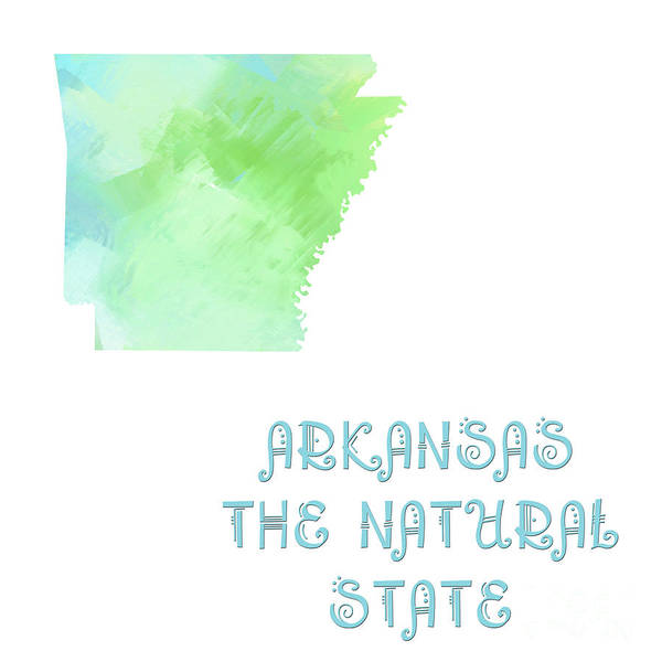 Digital Art - Arkansas - The Natural State - Map - State Phrase - Geology by Andee Design