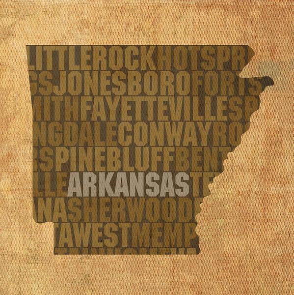Arkansas Mixed Media - Arkansas Word Art State Map On Canvas by Design Turnpike