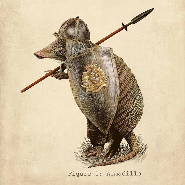 Crayon Drawing - Armadillo by Eric Fan