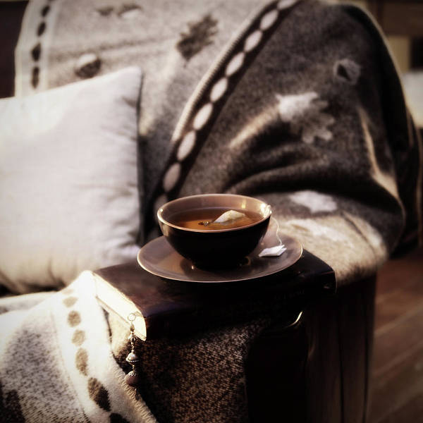 Armchair Photograph - Armchair With Blanket, Book And by Images By Ania H. Photgraphy