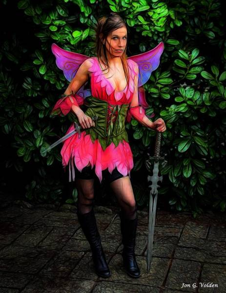 Painting - Armed And Ready Fairy by Jon Volden