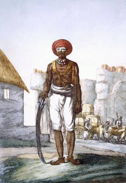 Hindu Drawing - Armed Guard Of The Brijbasis Tribe by Franz Balthazar Solvyns