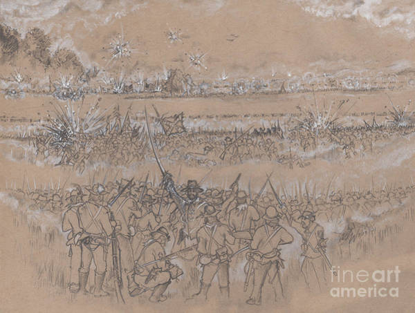 Confederate Soldier Drawing - Armistead's Encouragement by Scott and Dixie Wiley