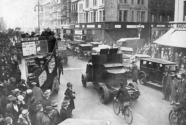 Wall Art - Photograph - Armoured Cars On London's  Streets by  Illustrated London News Ltd/Mar