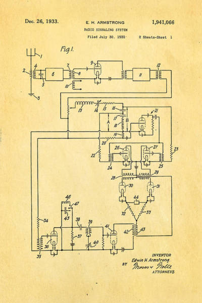 Monk Photograph - Armstrong Fm Radio Patent 1933 by Ian Monk