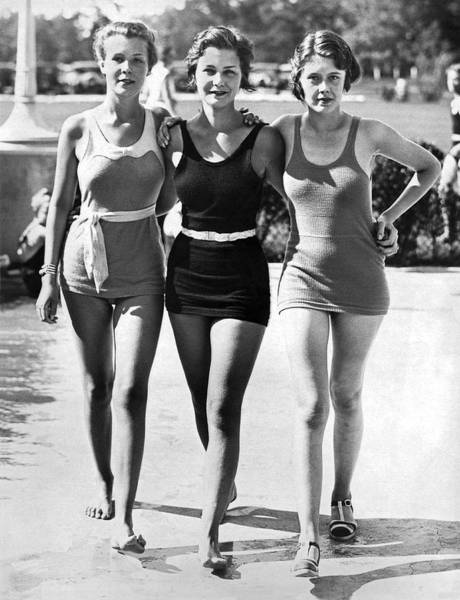 Wall Art - Photograph - Army Bathing Suit Trio by Underwood Archives