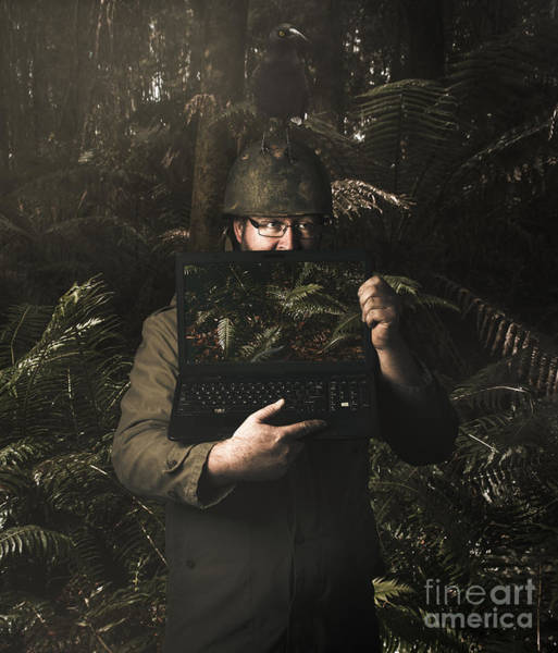 Army Soldier With Security Screen Saver Art Print