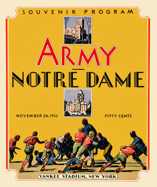 Wall Art - Painting - Army Vs Notre Dame 1932 Football Program by John Farr