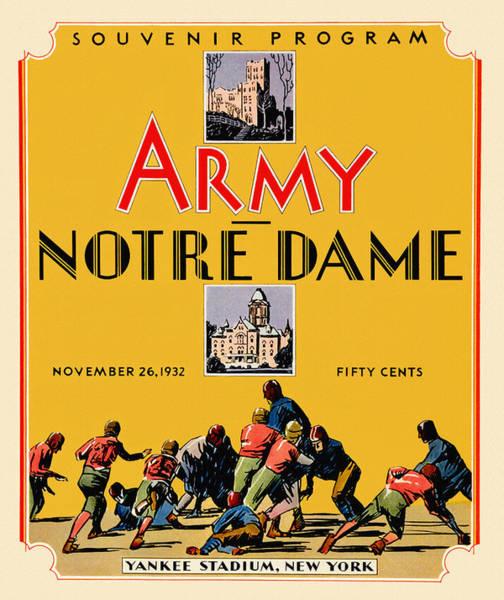 Bend Painting - Army Vs Notre Dame 1932 Football Program by John Farr