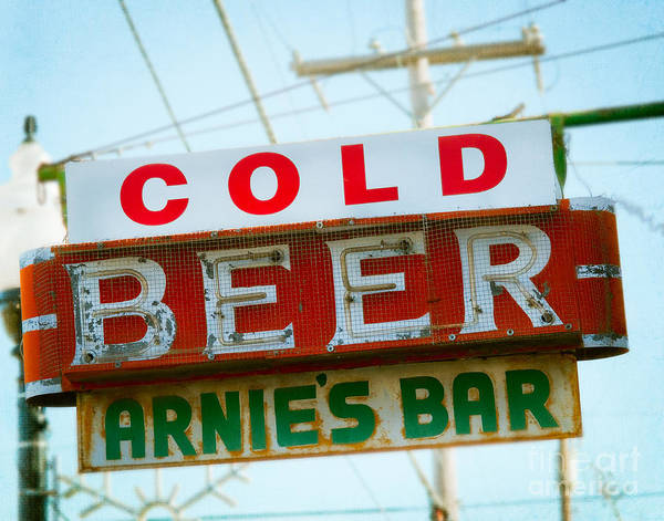 Neon Sign Photograph - Arnie's Bar In Tulsa by Sonja Quintero