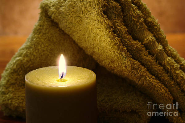 Wall Art - Photograph - Aromatherapy Candle And Towel by Olivier Le Queinec