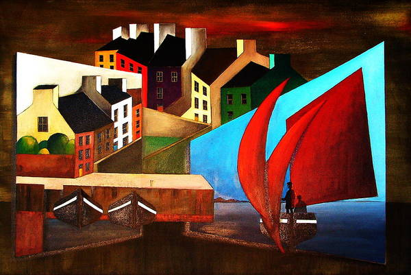 Mixed Media - Arrival In Roundstone Galway by Val Byrne