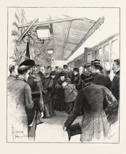 Railroad Station Drawing - Arrival Of Queen Victoria At Florence, Italy The Reception by Italian School