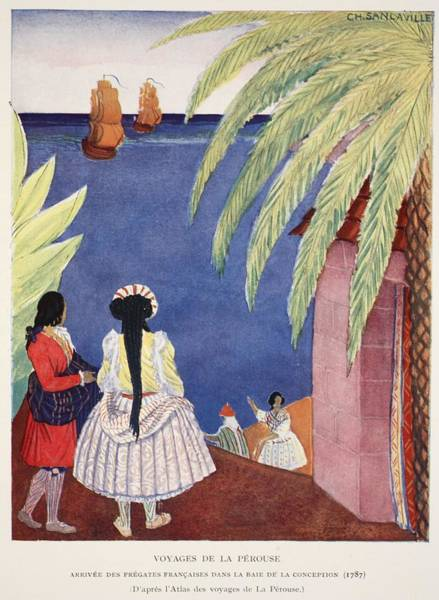 Palm Trees Drawing - Arrival Of The French Frigates by French School