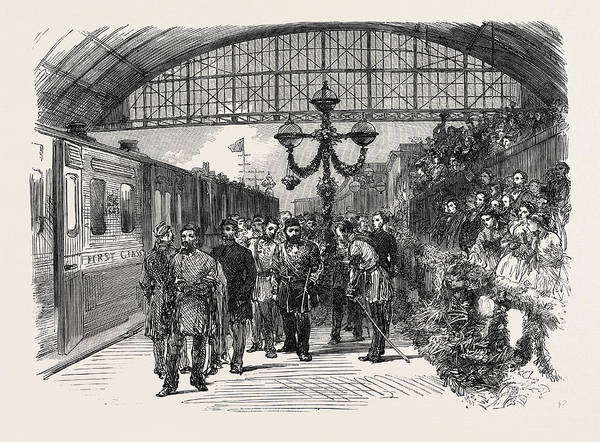 Wall Art - Drawing - Arrival Of The Sultan At The Charing Cross Terminus by English School