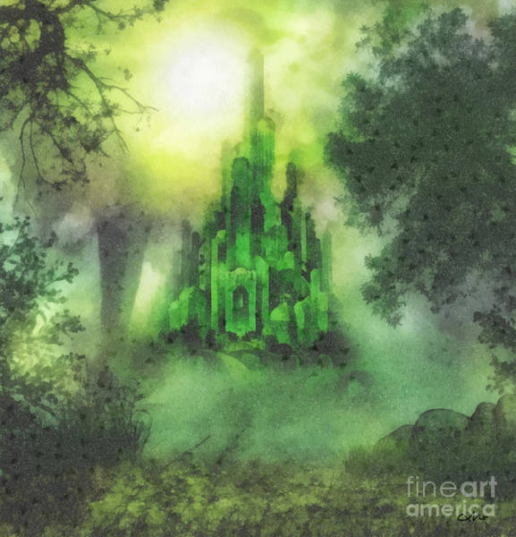 Emerald City Wall Art - Painting - Arrival To Oz by Mo T