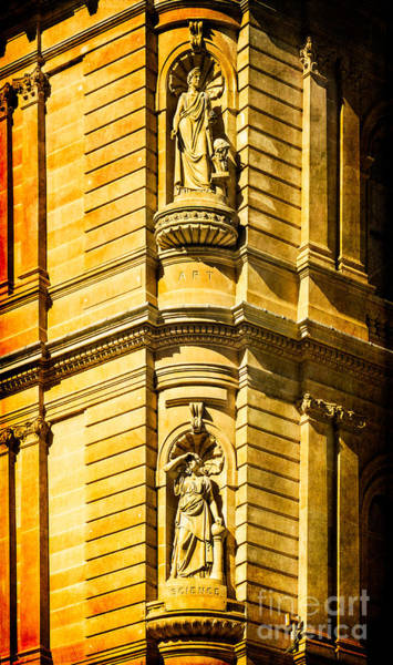 Photograph - Art And Science In Harmony - Textured Sydney Sandstone Statues On A Building by David Hill