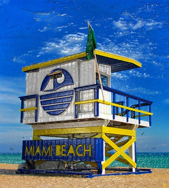 Lifeguard Digital Art - Art Deco Beach Stand Original Work by David Lee Thompson