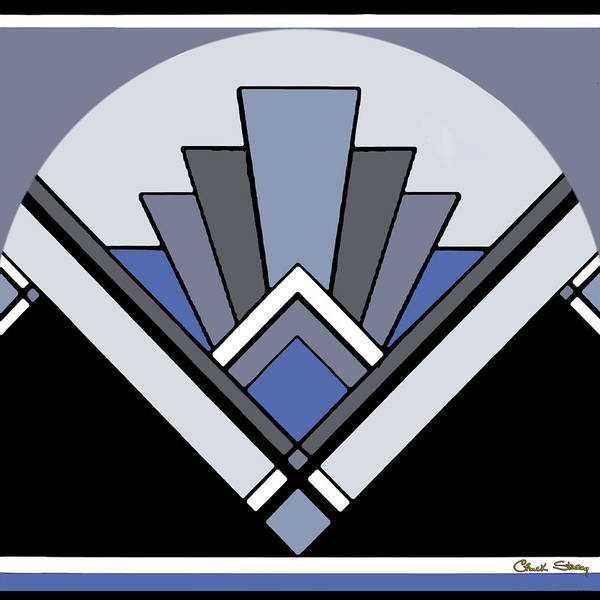Digital Art - Art Deco Pattern Two - Blue by Chuck Staley
