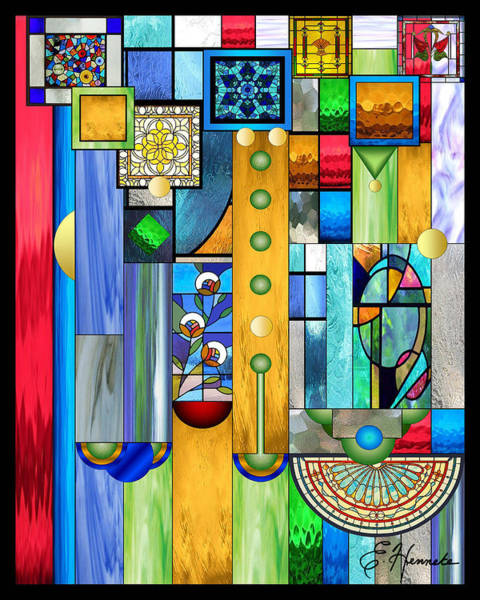 Glass Mixed Media - Art Deco Stained Glass 1 by Ellen Henneke